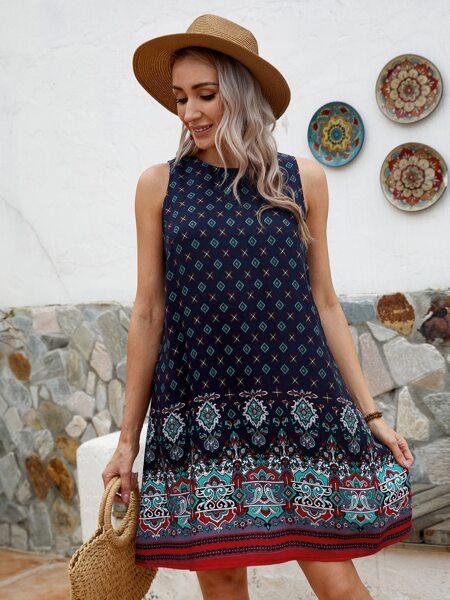 Keyhole Back Graphic Print Tunic Dress