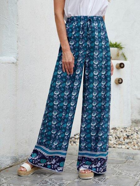 Allover Floral Print Wide Leg Pants