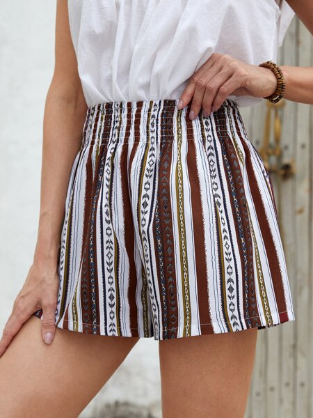 Shirred Waist Geo & Striped Wide Leg Shorts