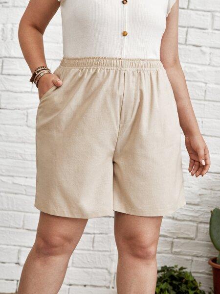 Plus Slant Pocket Solid Shorts