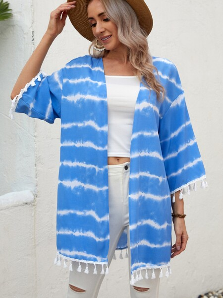 Tassel Trim Tie Dye Kimono