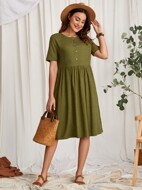 Solid Button Front Dress