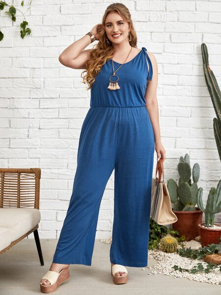 Plus Solid Knotted Wide Leg Jumpsuit