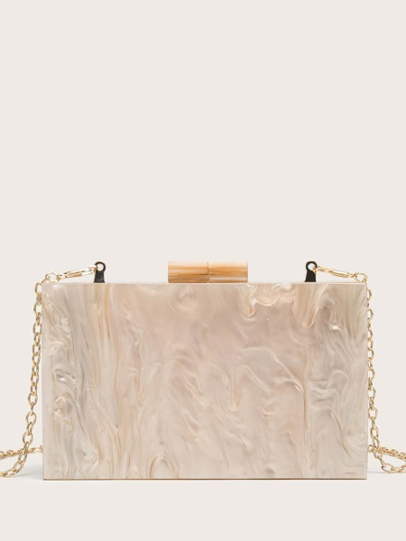 Marble Pattern Chain Box Bag