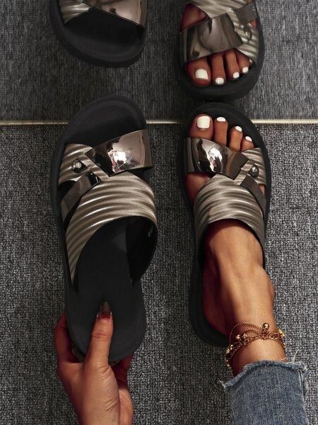 Open Toe Cut Out Slides