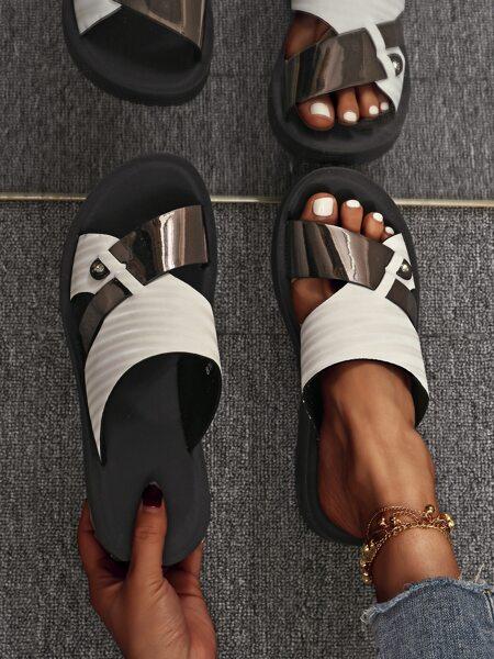 Open Toe Two Tone Slides