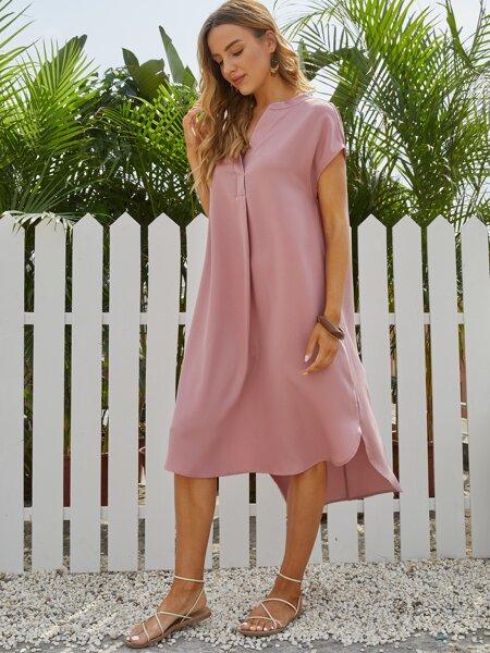 Notched Neck Dip Hem Dress