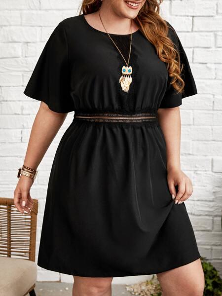 Plus Contrast Lace Solid A-line Dress