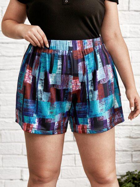 Plus Geo Print Shorts