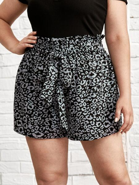 Plus Allover Print Paper Bag Waist Belted  Shorts