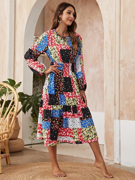 Floral Patchwork Print Cover Up