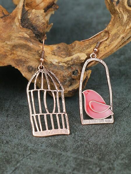Bird & Birdcage Charm Drop Earrings