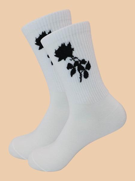 Floral Print Crew Socks