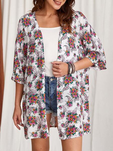 Paisley & Floral Print Kimono