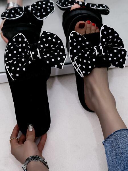 Polka Dot Bow Decor Slippers