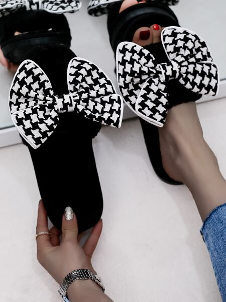 Houndstooth Bow Decor Slippers