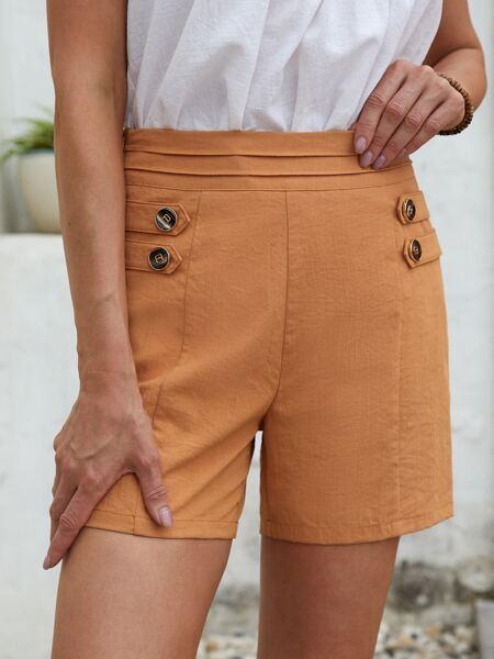 Zipper Side Button Detail Shorts