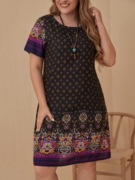Plus Geo And Floral Print Dress