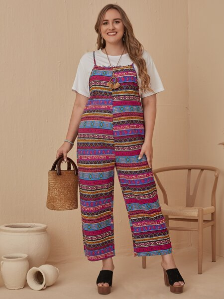 Plus Geo Print Cami Jumpsuit Without Tee