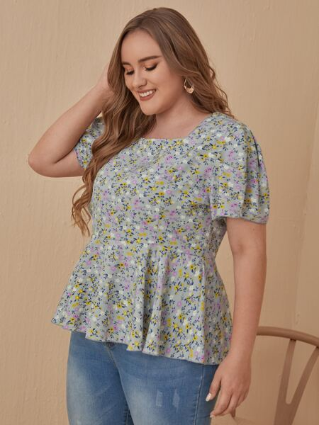 Plus Ditsy Floral Babydoll Blouse