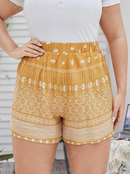 Plus Floral & Geo Wide Leg Shorts