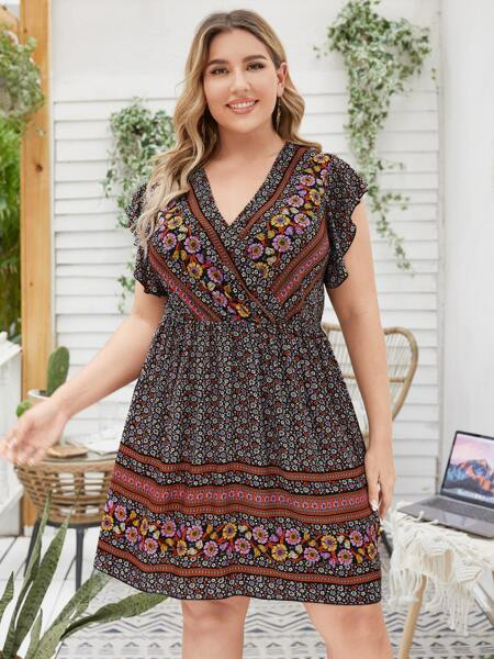 Plus Floral Surplice Front Flutter Sleeve Dress