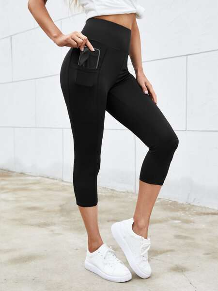 Wide Waistband Leggings With Phone Pocket