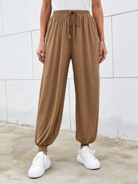 Knot Waist Solid Pants