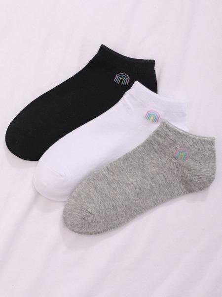 3pairs Rainbow Print Ankle Socks
