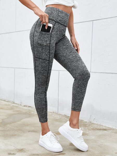 Wide Waistband Contrast Stitch Leggings With Phone Pocket