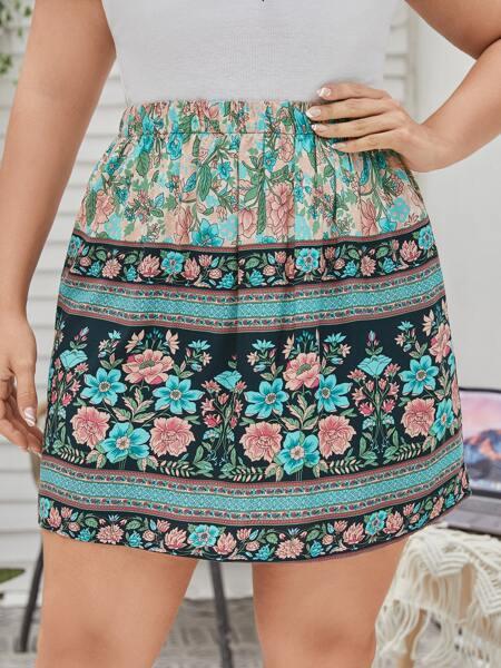 Plus Floral Print Straight Skirt