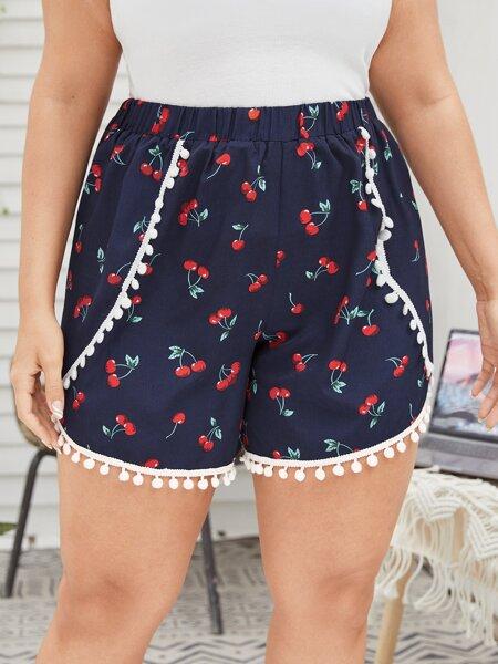 Plus Cherry Print Pompom Shorts