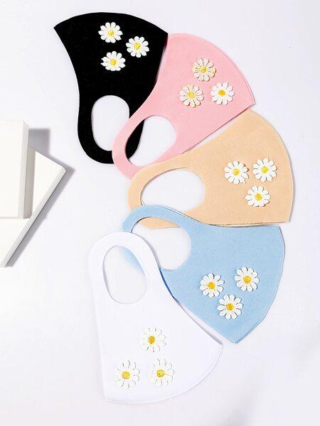 5pcs Floral Pattern Face Mask