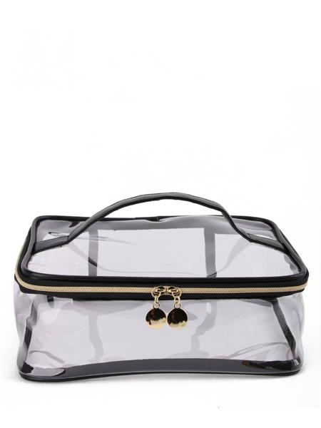 Clear Zipper Square Makeup Bag