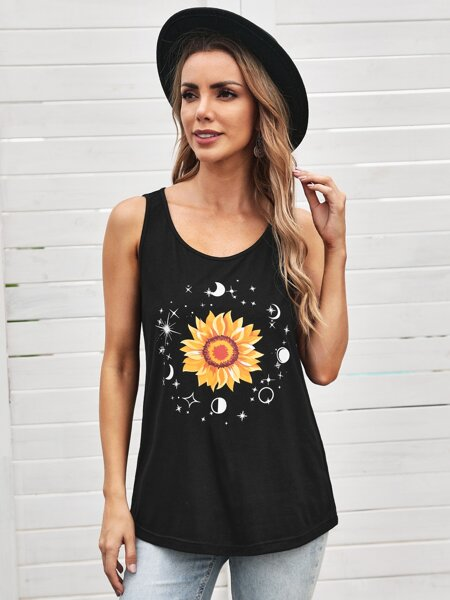 Floral & Galaxy Print Tank Top