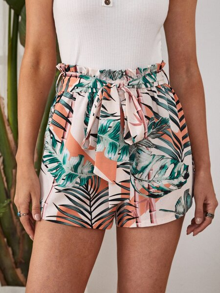 Paperbag Waist Belted Tropical Shorts