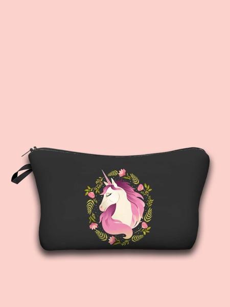 Cartoon Unicorn Zipper Makeup Bag