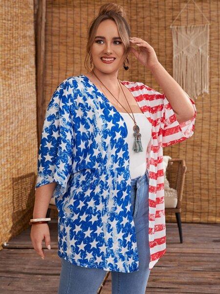 Plus Star & Striped Print Kimono
