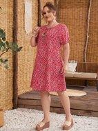 Plus Tie Neck Ditsy Floral Dress