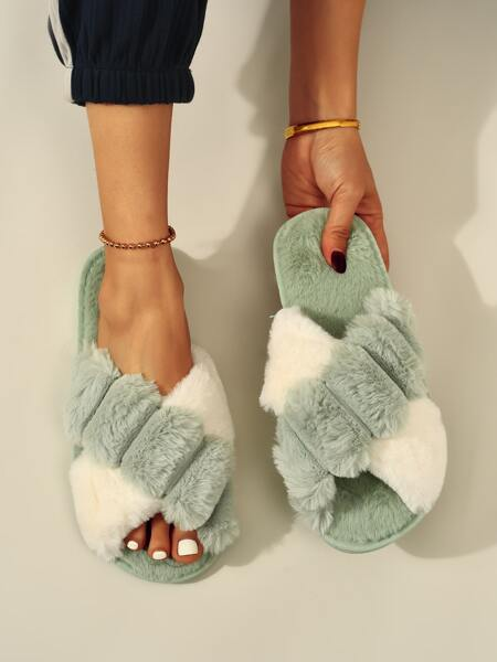 Two Tone Fluffy Bedroom Slippers