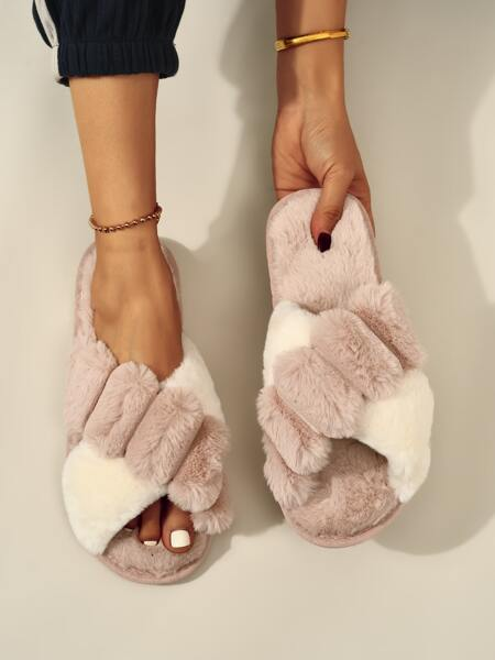 Colorful Fluffy Bedroom Slippers