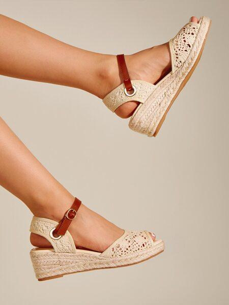 Peep Toe Lace Espadrille Flatform Sandals