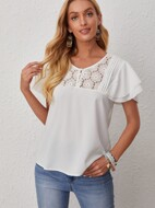 Contrast Guipure Lace Butterfly Sleeve Blouse