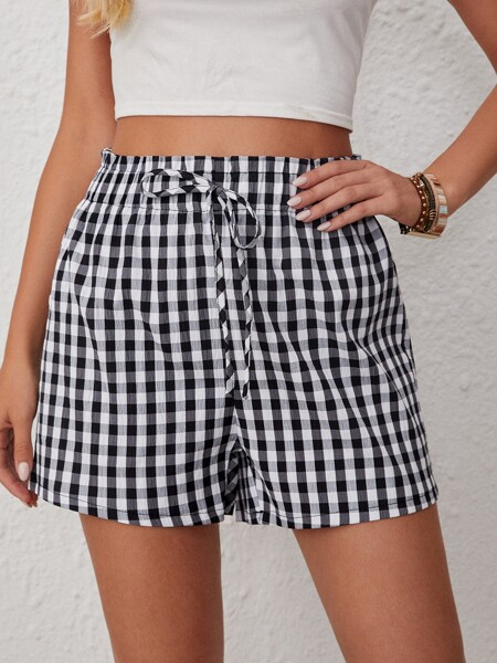 Gingham Knot Front Shorts