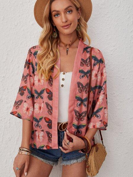 Butterfly Print Long Sleeve Kimono