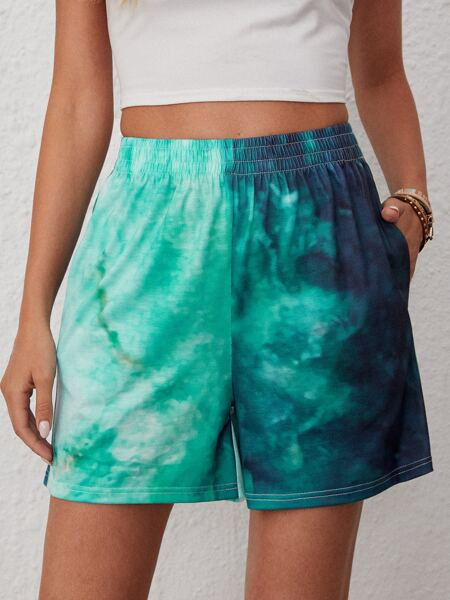Tie Dye Slant Pocket Track Shorts