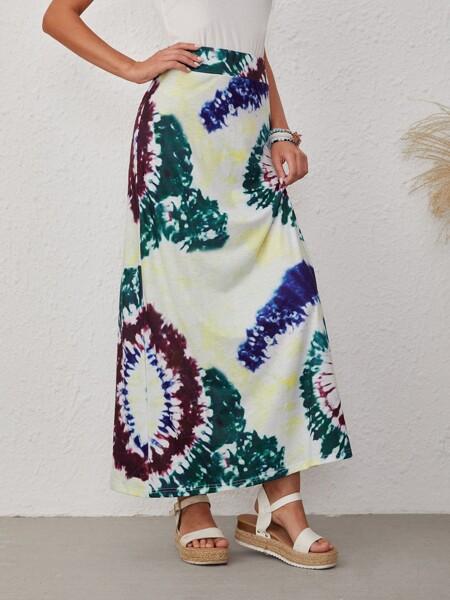 Tie Dye High Waist Straight Skirt