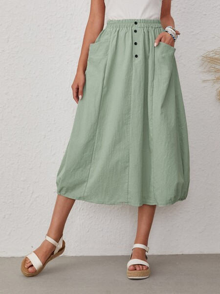 Dual Pocket Button Front Skirt