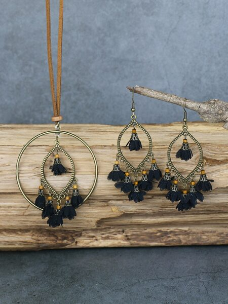 Fabric Flower Charm Necklace & 1pair Drop Earrings
