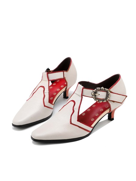 Buckle Decor Contrast Binding Leather Pumps